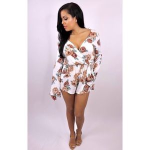 854ab3bf3ad0 Dresses & Skirts - New Paradise Floral - Ivory & Tan Floral Romper